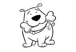 狗简笔画图片大全_啃骨头的小狗
