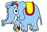 大象简笔画图片大全-玩皮球的大象