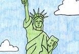美国自由女神像儿童线描画作品在线看