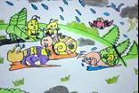 儿童水彩画图片大全-一群小蜗牛