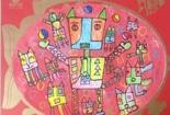 儿童水彩画作品图片-机器猫