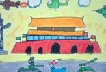 儿童美术绘画作品-国庆阅兵