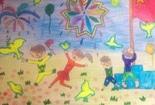 儿童水彩画图片大全-国庆大联欢