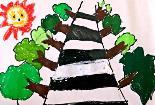 马路站岗图4岁孩子水彩画