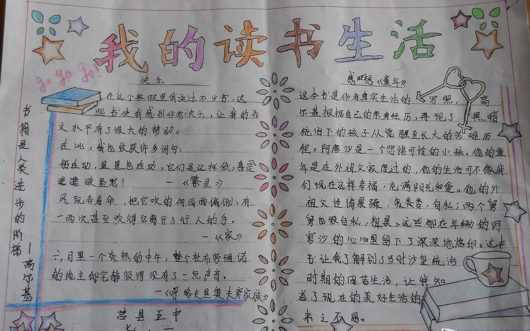<b>我的讀書生活語文手抄報</b>