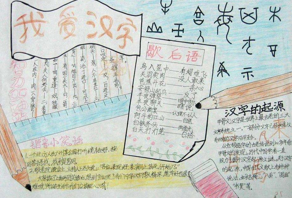 我愛漢字語文手抄報簡單