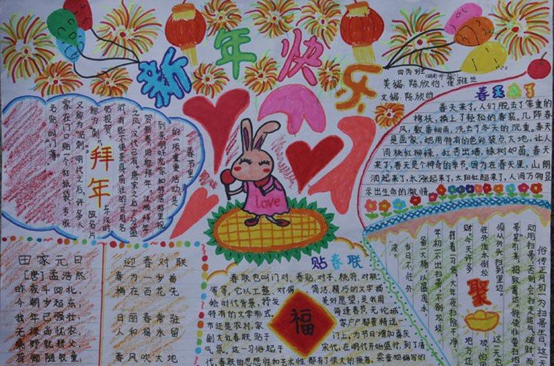 春节拜年送礼祝福手抄报大全