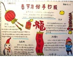 挂红灯笼祝福新年手抄报合集