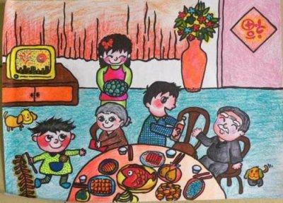 描绘家人欢聚过春节手抄报精选模板