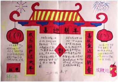 春节贴对联祝福手抄报图片模板