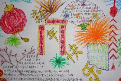 手绘幸福的春节唯美手抄报集锦