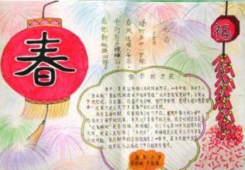 掛紅燈籠祝福新年手抄報合集
