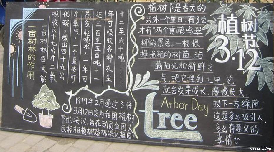 2020植树节黑板板报