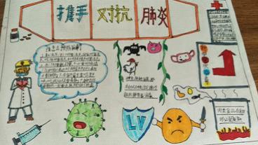 防控疫情手抄報簡單圖片 武漢抗擊肺炎兒童手抄報