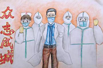 抗击疫情手抄报简单-抗击疫情的小学生绘画