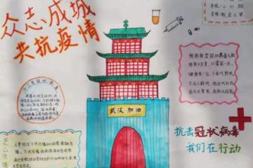 预防新型冠状病毒手抄报_抗击疫情儿童画画图片