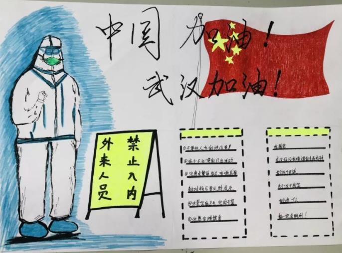 中国加油武汉加油手抄报简单