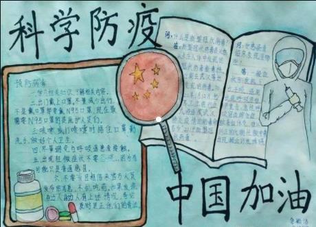 科学防疫中国加油手抄报
