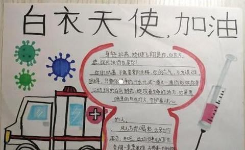 新型冠状病毒手抄报简笔画_向医护人员致敬手抄报