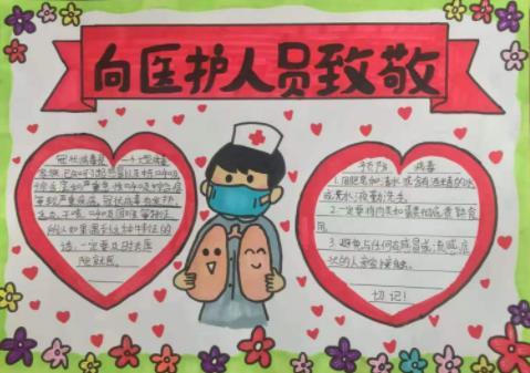 預防肺炎向醫護人員致敬手抄報精美