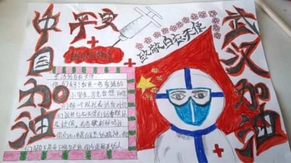 中國加油武漢加油小學生手抄報卡通插圖