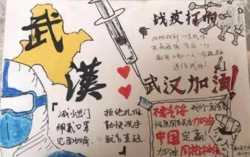 2020武漢疫情小學生手抄報圖片和內容