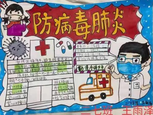 防病毒肺炎手抄报小学生简笔画图片