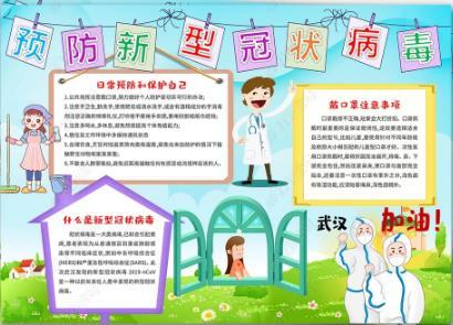预防病毒平安中国手抄报图片素材