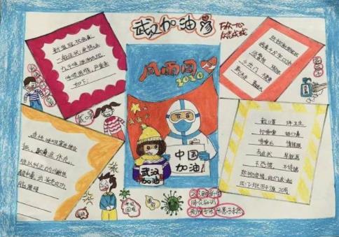 武汉加油小学手抄报图片素材
