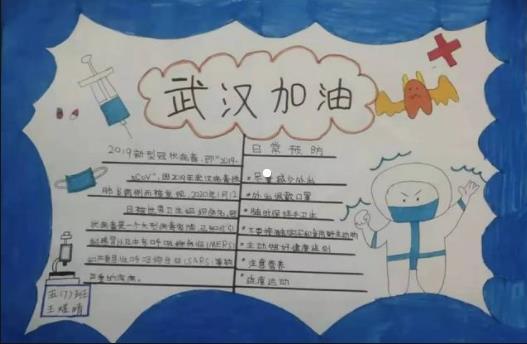 武汉加油白衣天使加油手抄报卡通可爱