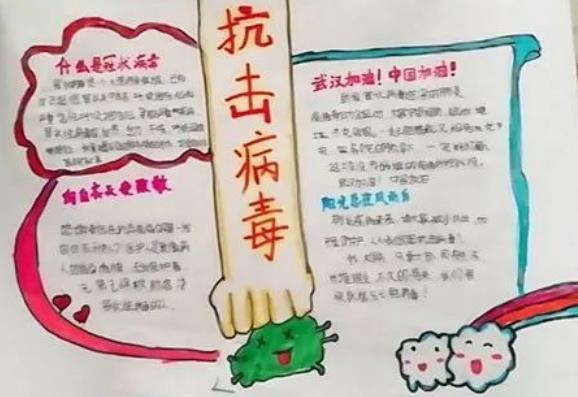 抗击病毒小学生手抄报模简单_武汉加油手抄报图片
