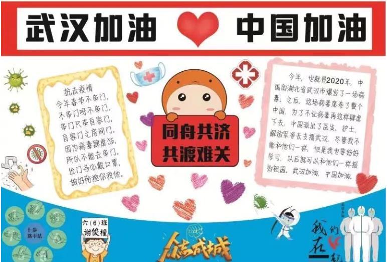 武汉加油中国加油小学生手抄报大全