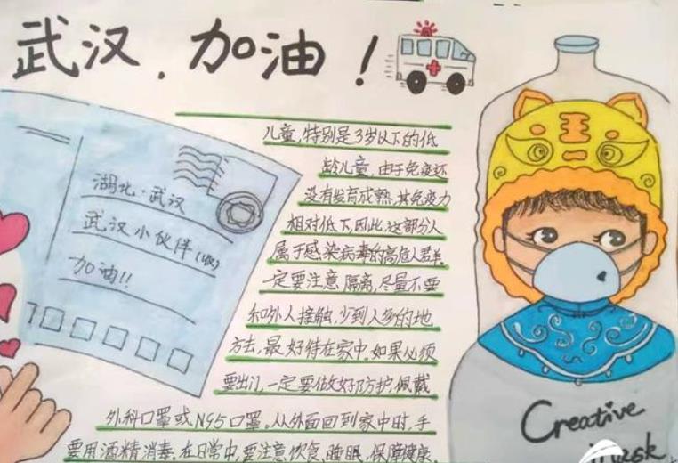 武漢加油小學生手抄報卡通插圖