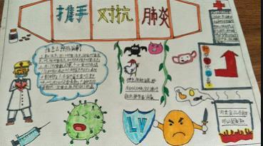 攜手對抗肺炎小學生手抄報版面設計