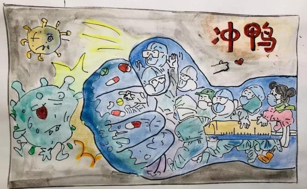 抗击疫情主题绘画图片素材