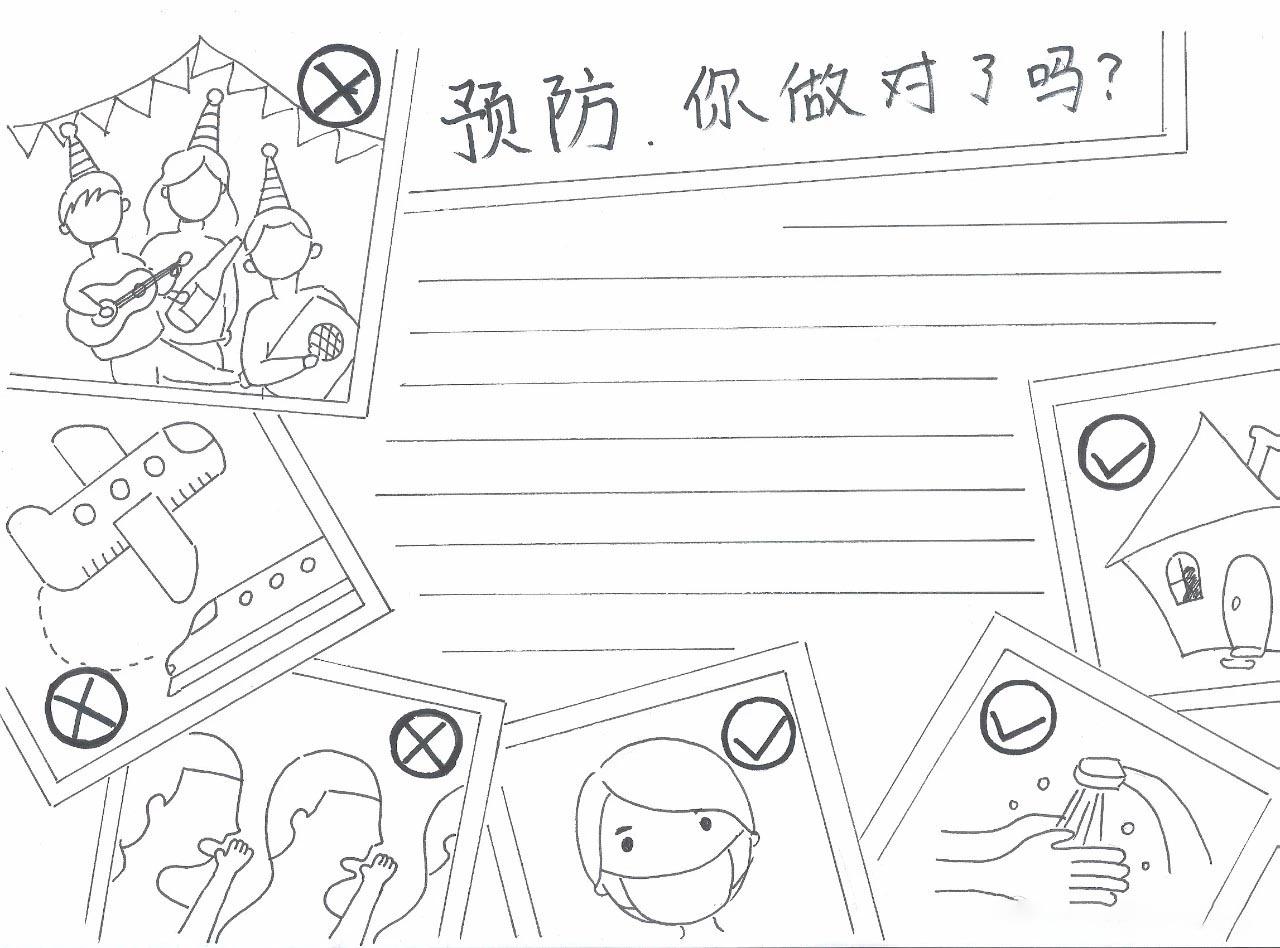 2020新型冠状病毒手抄报简单_关于新型冠状病毒手抄报图片