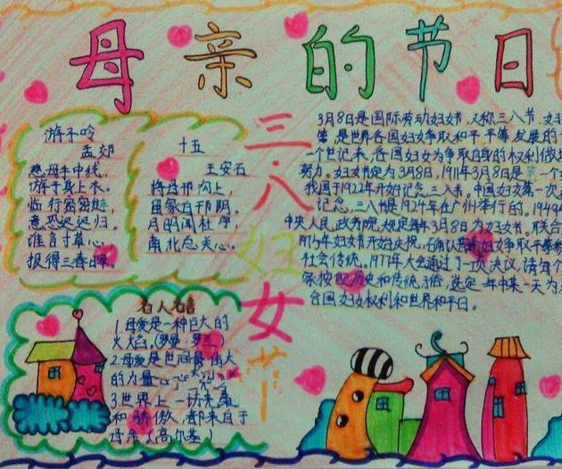 母亲的节日三八妇女节手抄报图片