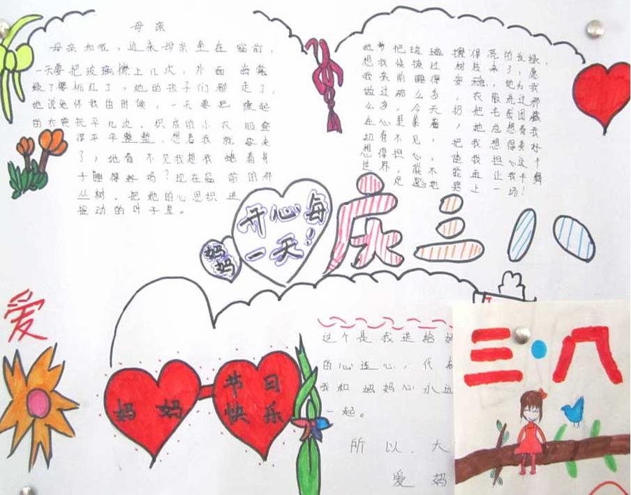 庆三八节祝福妈妈手抄报图片素材