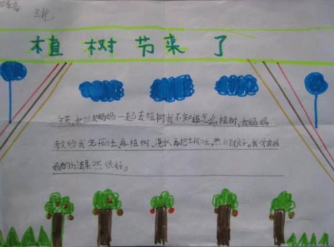 植树节来了手抄报超简单图片