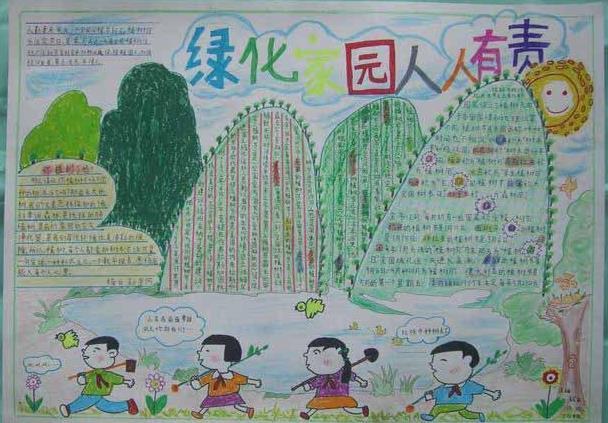植树节绿化家园人人有责手抄报图画