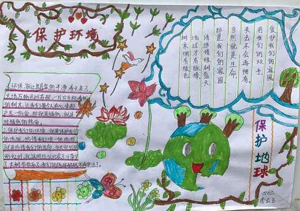 3.12植树节保护环境环保地球手抄报图画