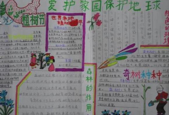 植树节爱护家园保护地球手抄报小学生画作