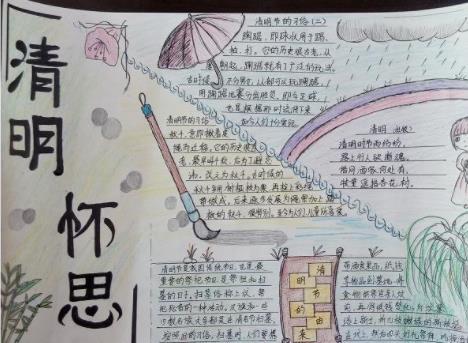 清明怀思手抄报小学优秀绘画作品