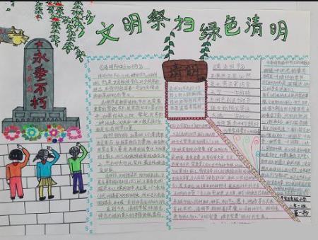 文明祭扫绿色清明手抄报优秀绘画