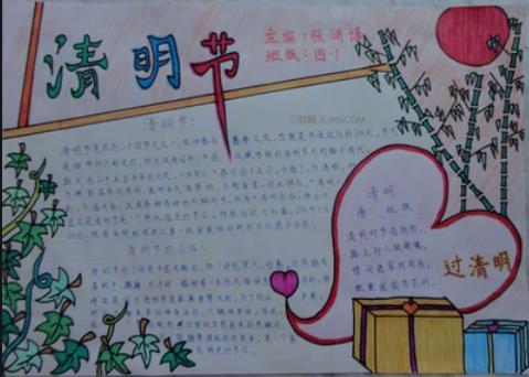 四年级清明节手抄报图画简单好看