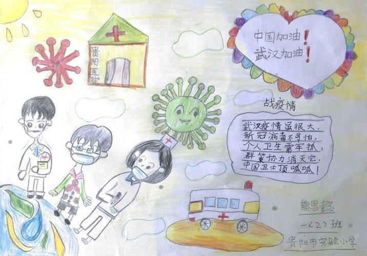 小学生抗击疫情手抄报简笔画绘画