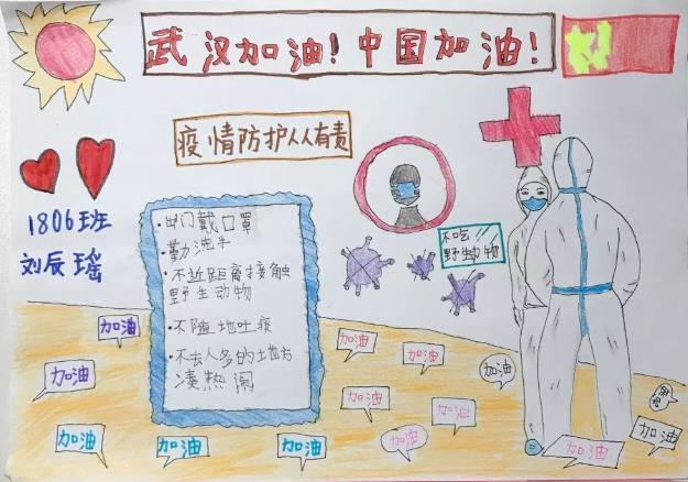 抗击新型冠状病毒小学生手抄报简单