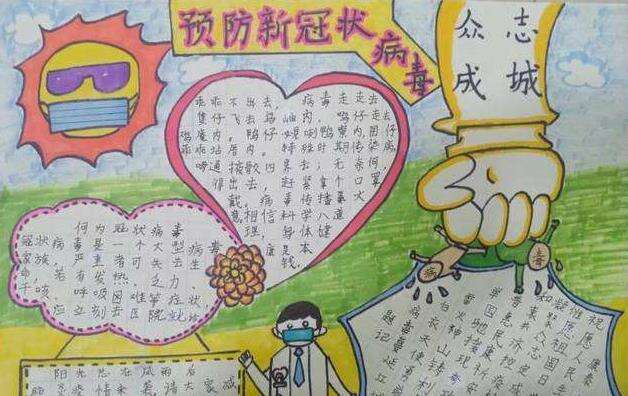 众志成城战胜病毒小学生手抄报画