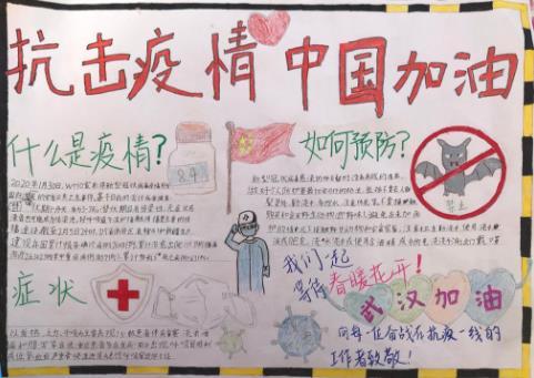 抗击疫情中国加油小学生手抄报优秀绘画