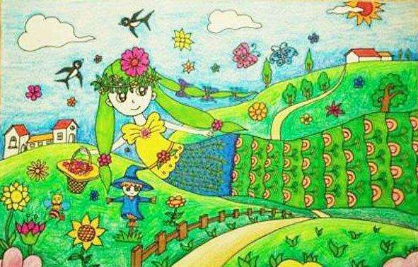 春天主題擬人化兒童繪畫圖集_美麗的春天繪畫